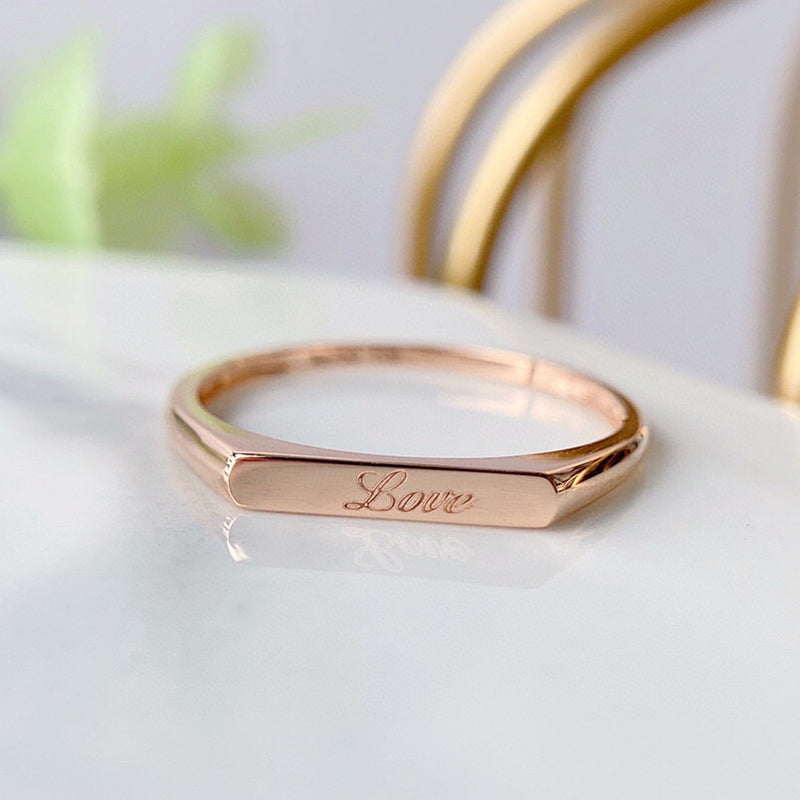18K Gold Fashion  Engraving Name Ring