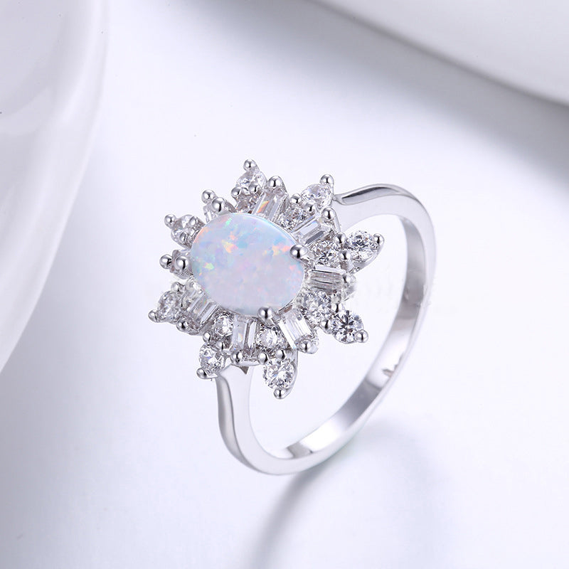 Oval Cut Opal Marquise Cut Created Diamond Ring