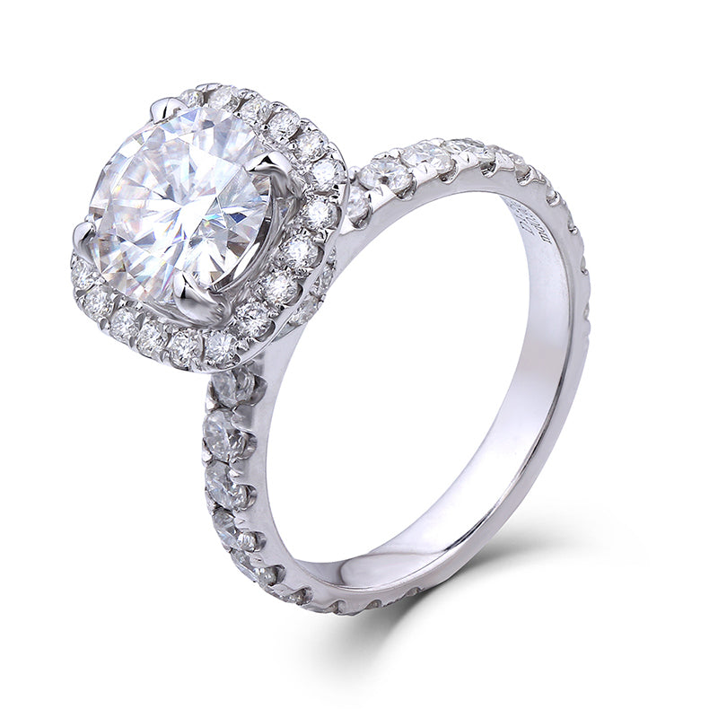14K/18K Gold Moissanite Diamond Round Cut Bridal Ring for women