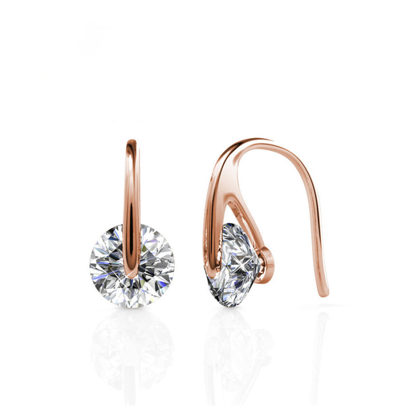 Round Cut Crystal Hook Earrings