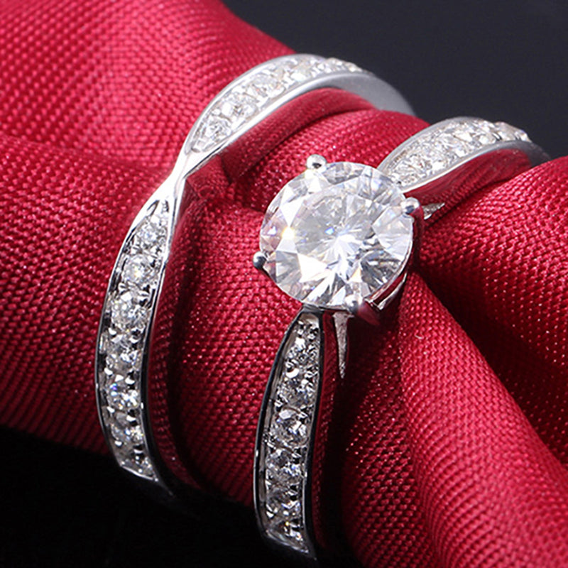 14K/18K Gold 1.0ct Round Cut D Color Moissanite Diamond Bridal Ring