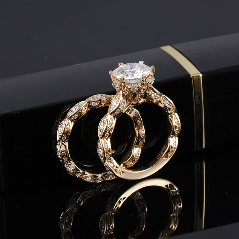 14K/18K Gold Moissanite Diamond Round Cut Bridal Ring