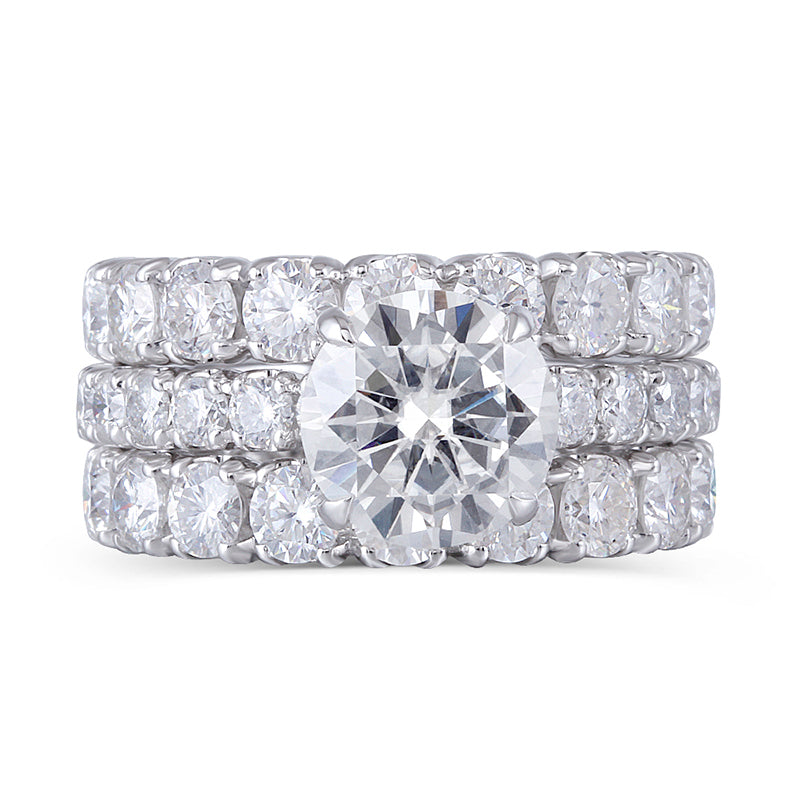 14K/18K Gold Round Cut 3.0ct Moissanite Diamond Trio Ring