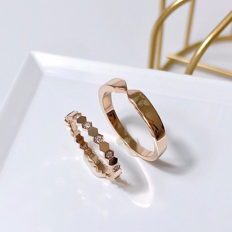 18K Rose Gold Round Natural Diamond Honeycomb Couple Ring