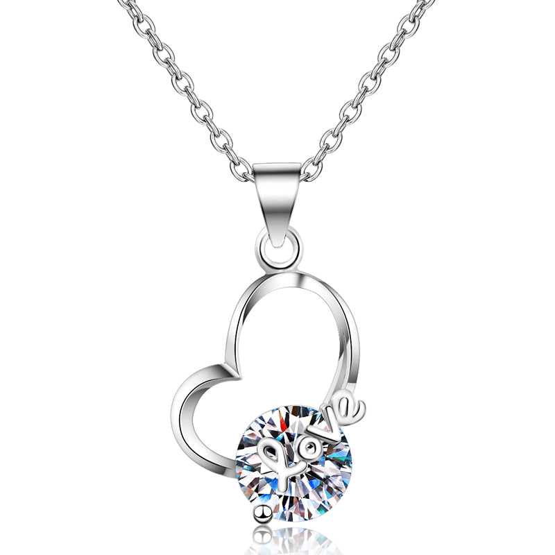Round Cut Moissanite Diamond Heart-shaped Pendant Necklace