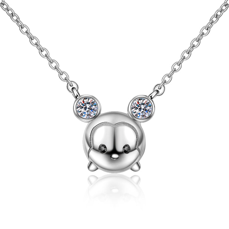Round Cut Moissanite Diamond Mickey Mouse Necklace