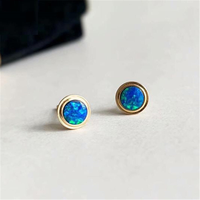 18K Gold Round Natural Opal 5.5M Bubble Stud Earrings