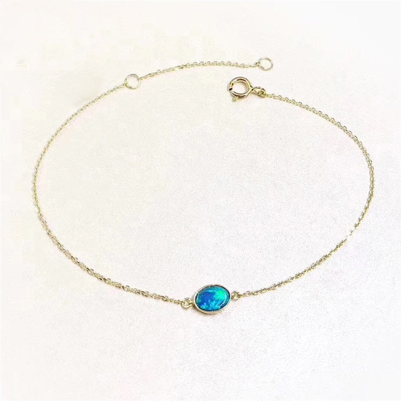 18K Gold Oval Natural Opal Bracelet