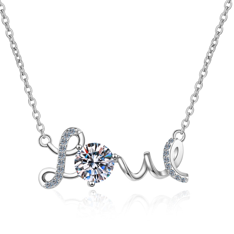 Round Cut Moissanite Diamond Name Love Necklace