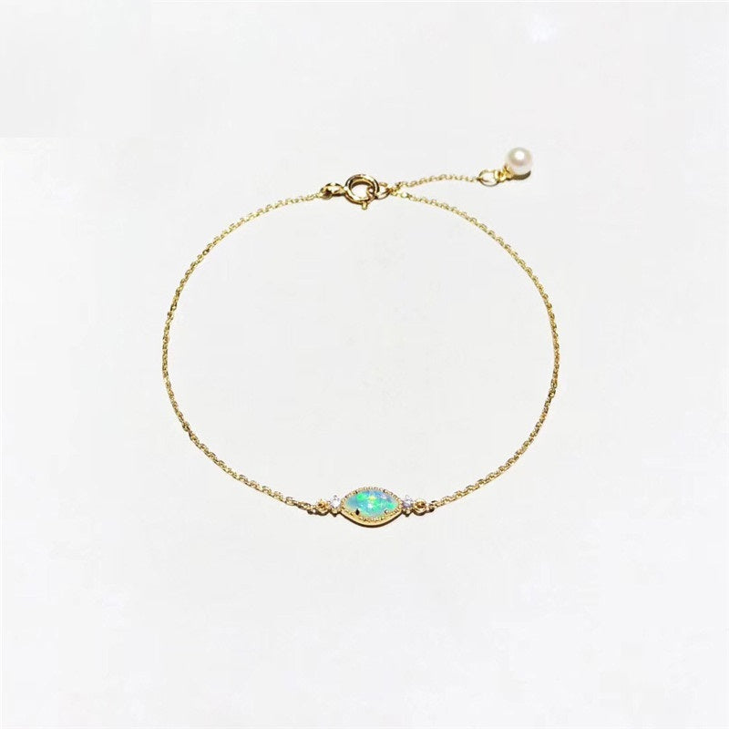 18K Gold Marquise Cut Natural Diamond Opal Bracelet