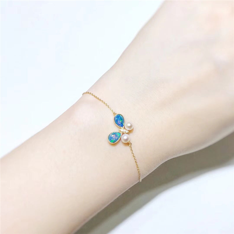 18K Gold Pear Cut Natural Diamond Pearl opal Blue Butterfly Bracelet