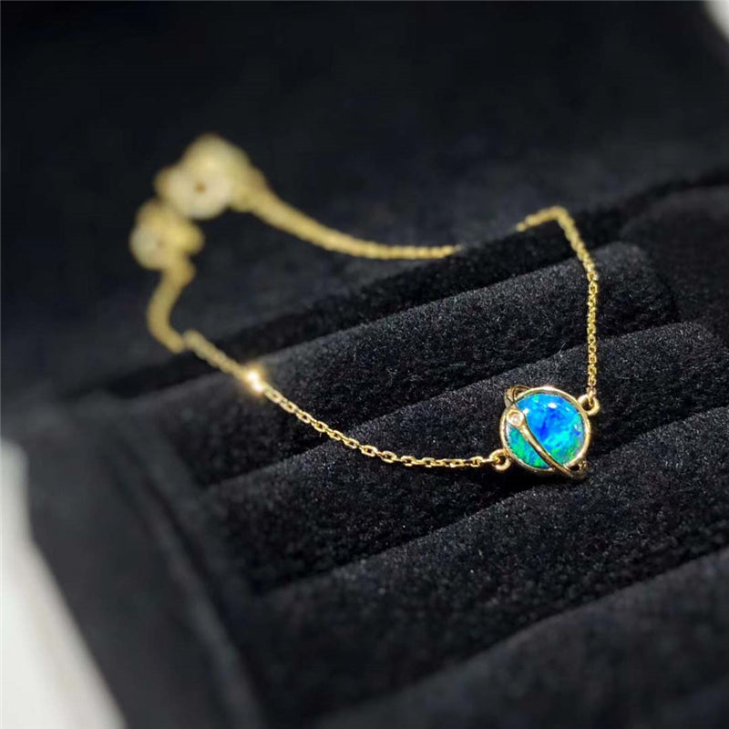 18K Gold Round Natural Diamond Opal Bracelet