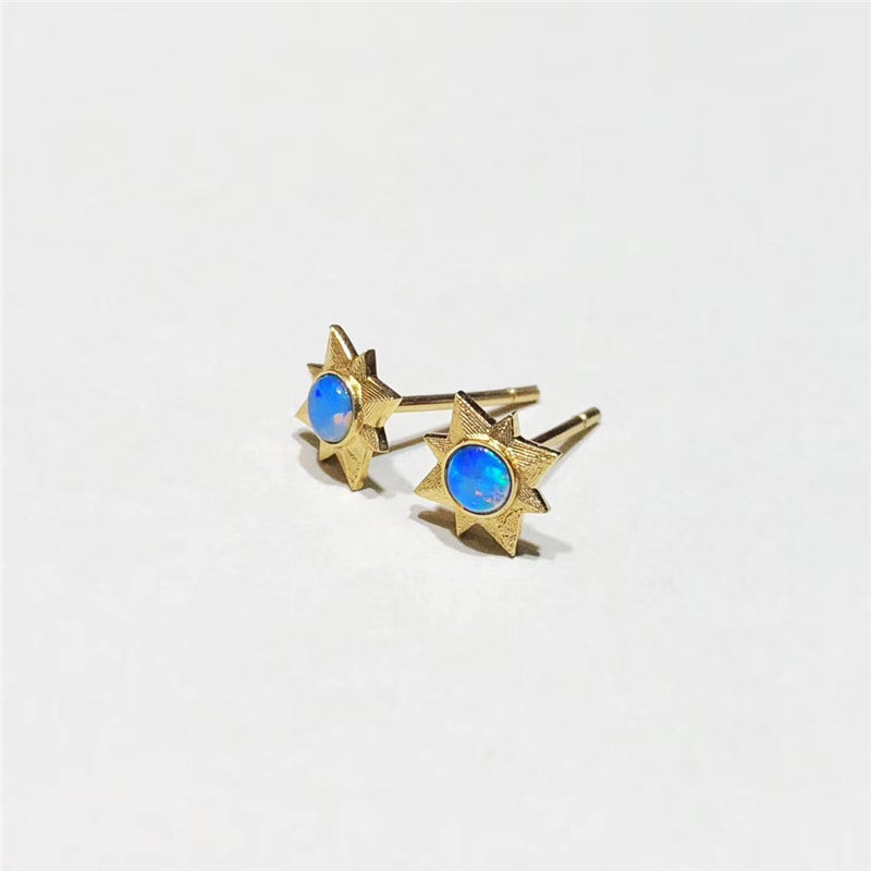 18K Gold Round Natural Opal 5MM Star Earrings