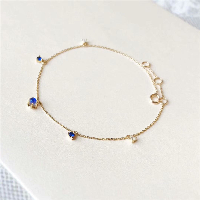 18K Gold Round Cut Diamond Sapphire Natural Moonstone Ball Bracelet