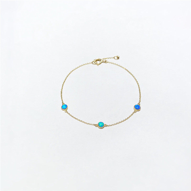 18K Gold Round Cut Natural Opal Chain Length 15mm-17mm Bracelet