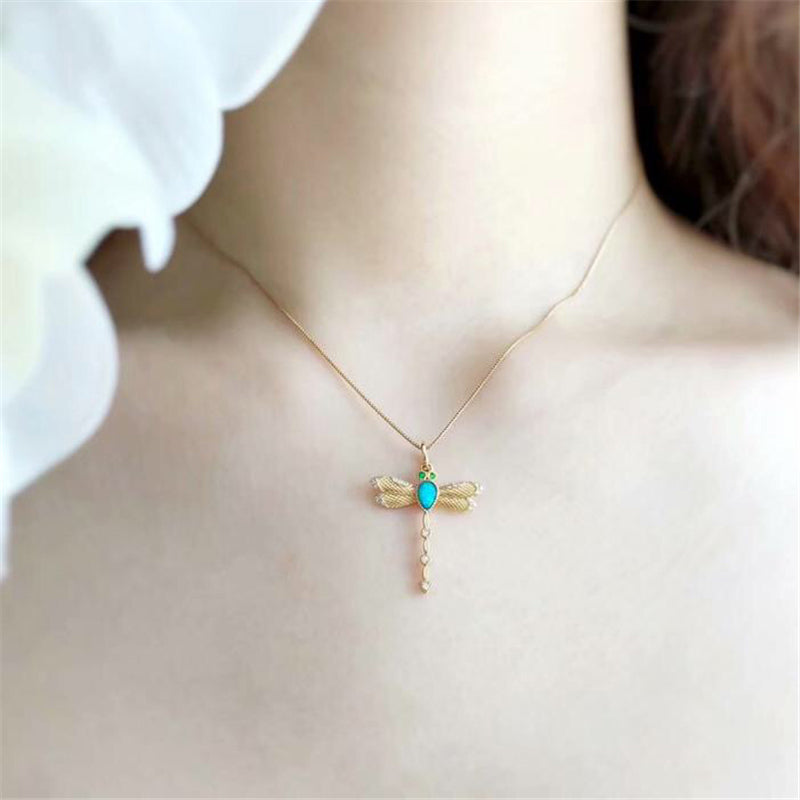 18K Gold Pear Cut Natural Opal Diamond Emerald 19.97X27.06M Dragonfly Pendant Necklace