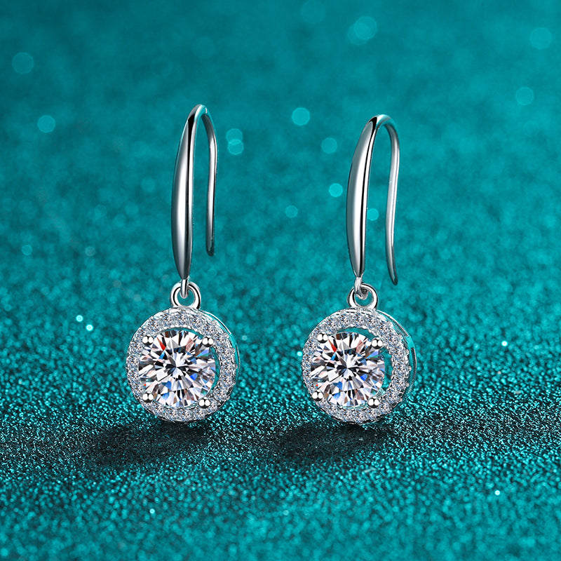Round Cut Moissanite Diamond Classic Ear Hook Earrings