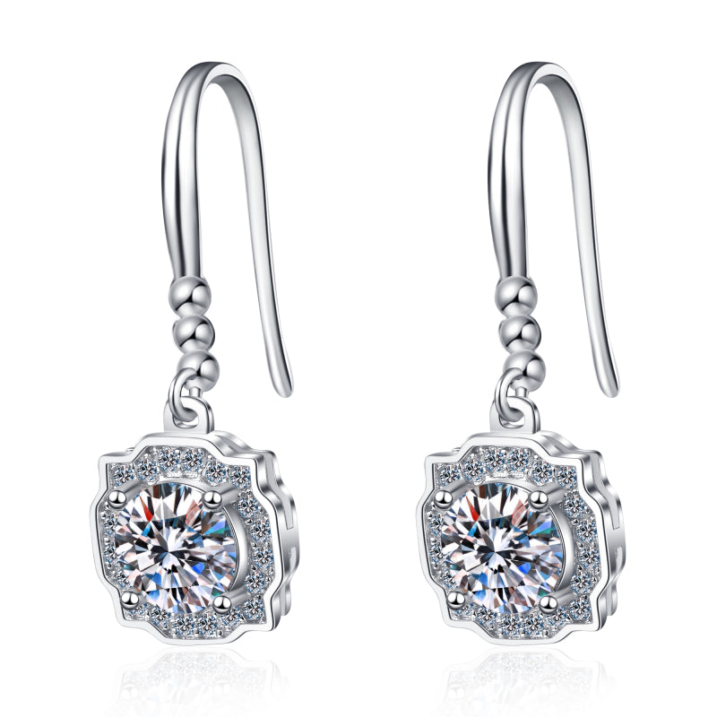 1.0ct/2.0ct Round Cut Moissanite Diamond Hook Earrings