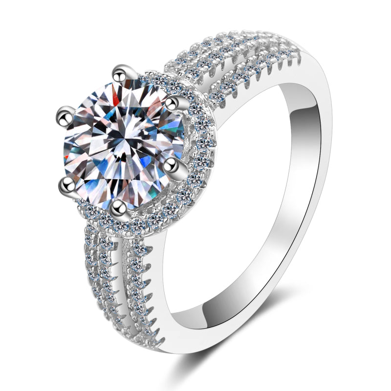 Round Cut Moissanite Diamond Halo Ring