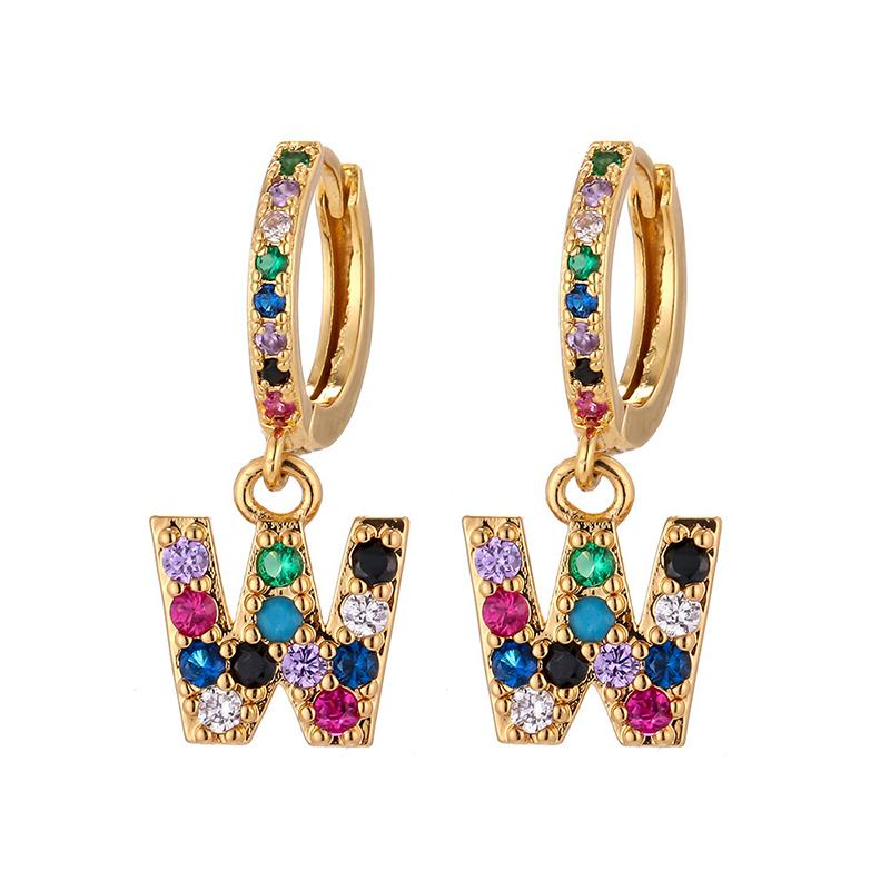 A-Z Initial Cuff Earring Rainbow Hoop Earring Single