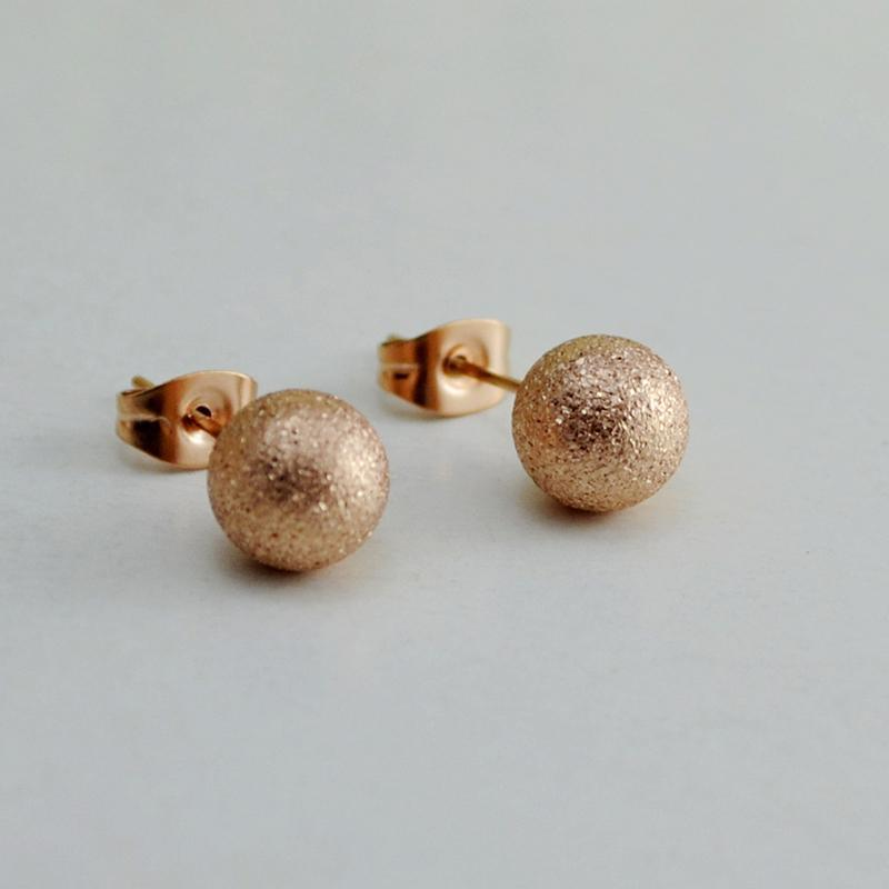 Matte Beads Stud Earrings Rose Gold Plated
