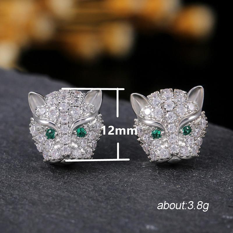 Leopard Head Created Diamond Stud Earrings