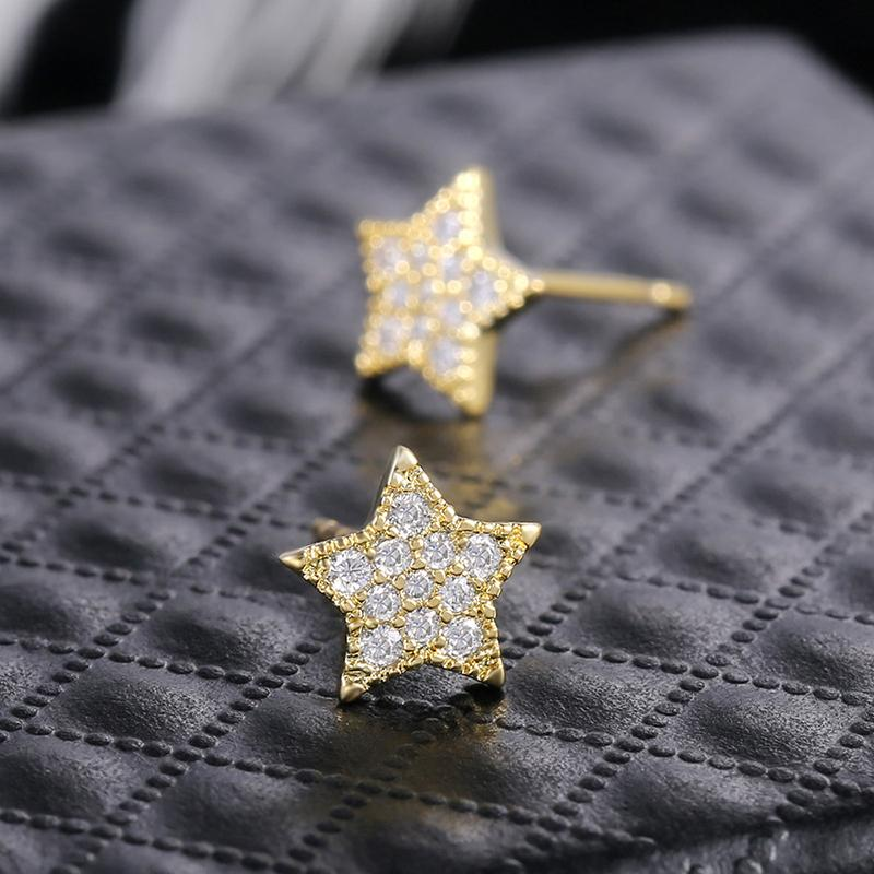 Vintage Star Round Created Diamond Stud Earrings Hypoallergenic