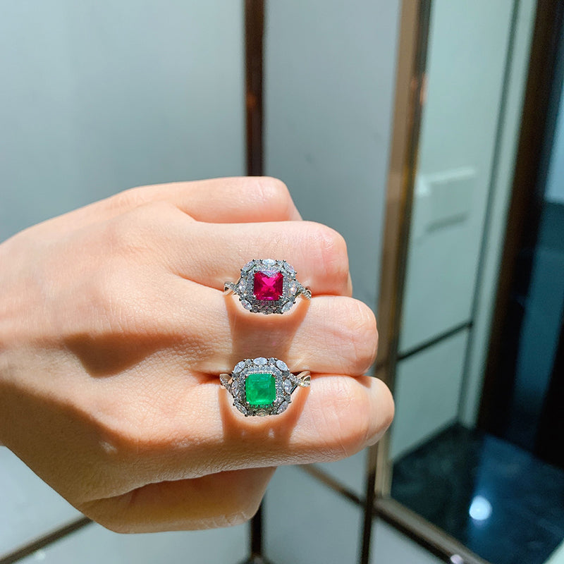 Cushion Cut Lab Created Emerald Lab Created Ruby Vintage Ring