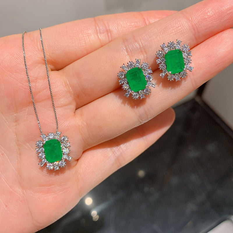 Fashion Radiant Cut Lab Created Emerald Pendant Necklace