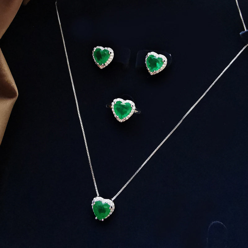 Heart-shaped Cut Lab Created Emerald Fashion Pendant Necklace