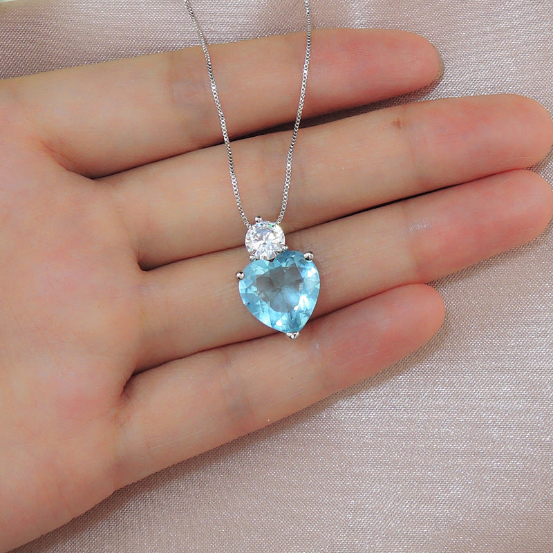 Heart-Shaped Cut 20*20mm Lab Created Paraiba Fashion Pendant Necklace