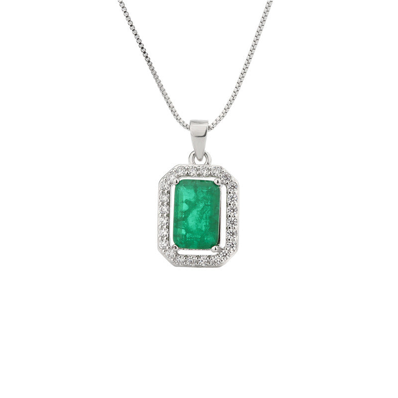 Classic Emerald Cut 8*12mm Lab Created Emerald Pendant Necklace