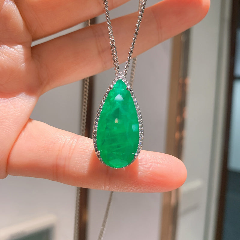 Pear Cut  Lab Created Emerald Classic Pendant Necklace
