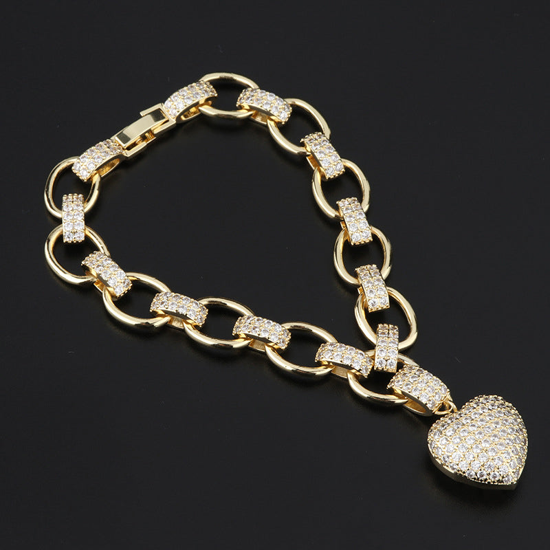 Round Cut Created Diamond Heart-shaped Tennis Bracelet