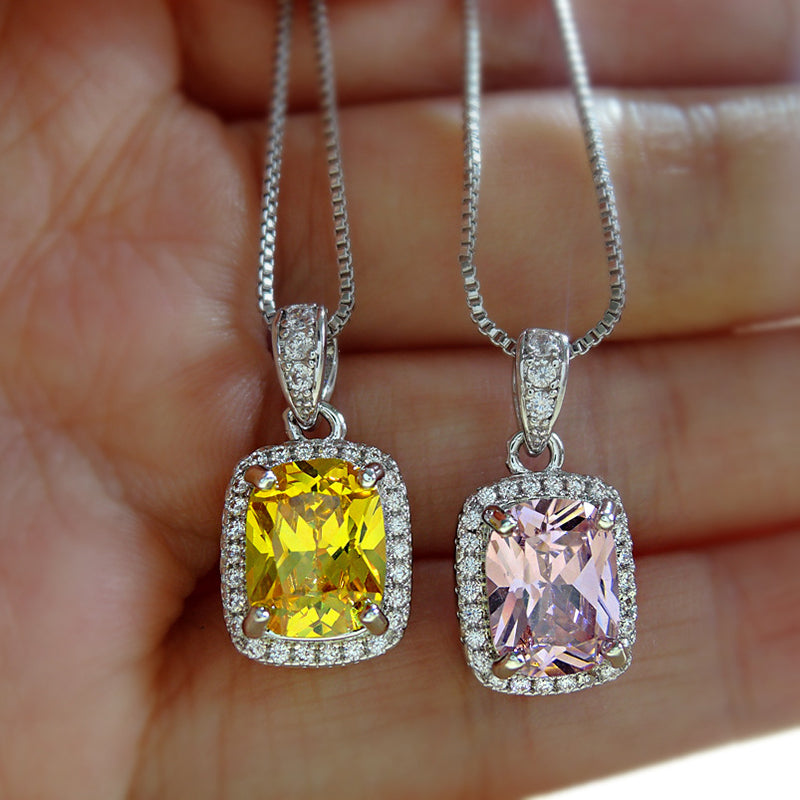 Classic Radiant Cut Yellow Created Diaound/Lab Created Pink Sapphire Pendant Necklace