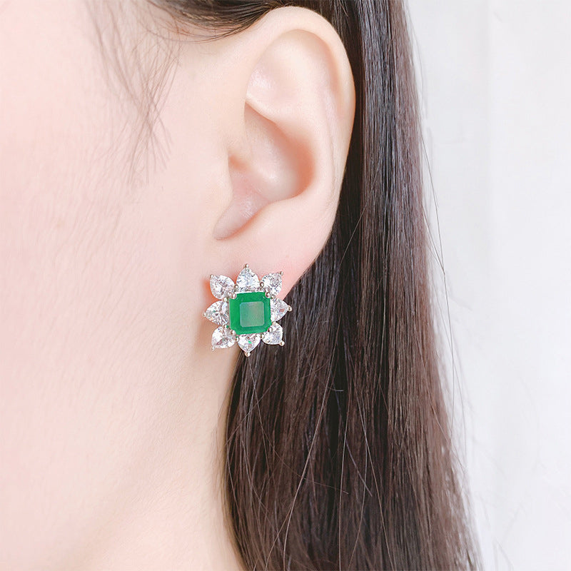 Fashion Asscher Cut 8*8mm Lab Created Emerald/Lab Created Sapphire/Lab Created Ruby Earring