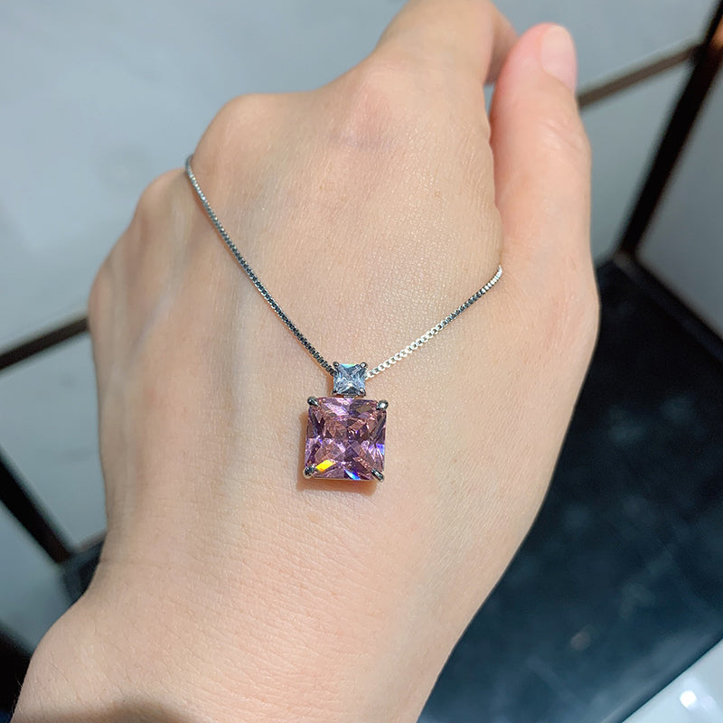 Radiant Cut Lab Created Pink Sapphire Fashion Pendant Necklace