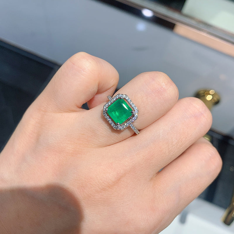 Asscher Cut 8*8mm Lab Created Emerald Vintage Halo Ring