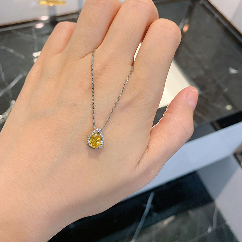 Pear Cut 6*9mm Yellow Created Diamond Classic Pendant Necklace