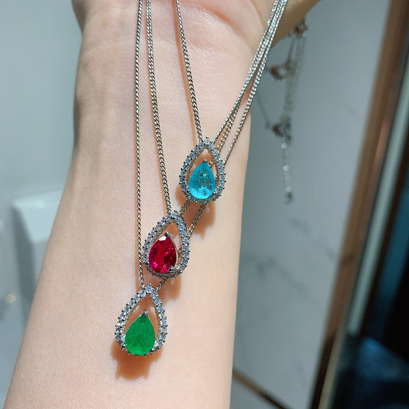 Pear Cut Lab Created Emerald/Lab Created Paraiba/Lab Created Ruby Pendant Necklace