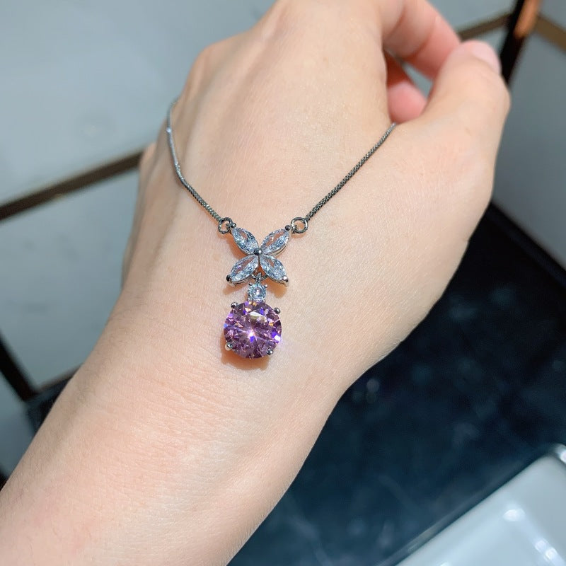 Round Cut Lab Created Pink Sapphire Flower shaped Fashion Pendant Necklace