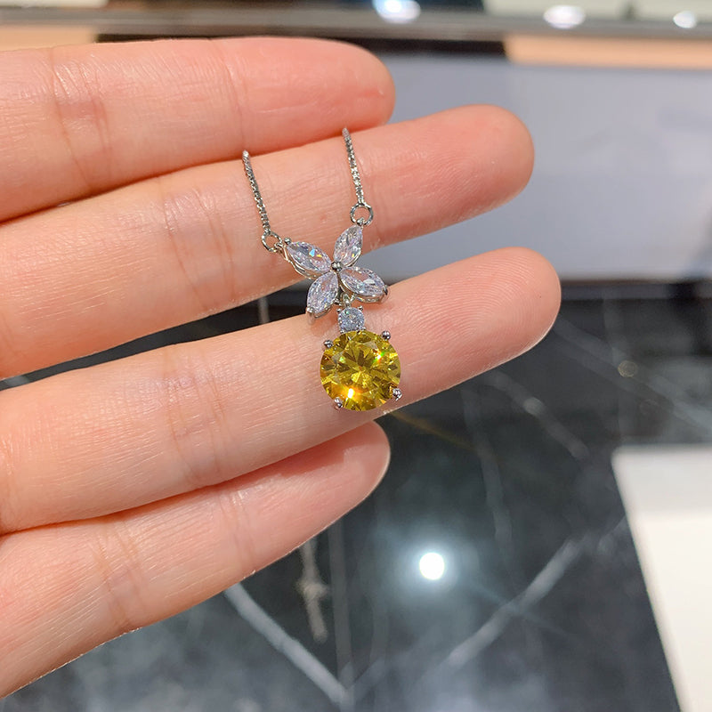 Round Cut Yellow Created Diamond Flower-shaped Fashion Pendant Necklace