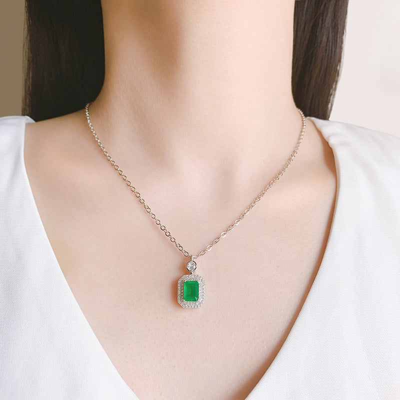 Seiko Radiant Cut 6*8mm Lab Created Ruby/Lab Created Emerald Pendant Necklace