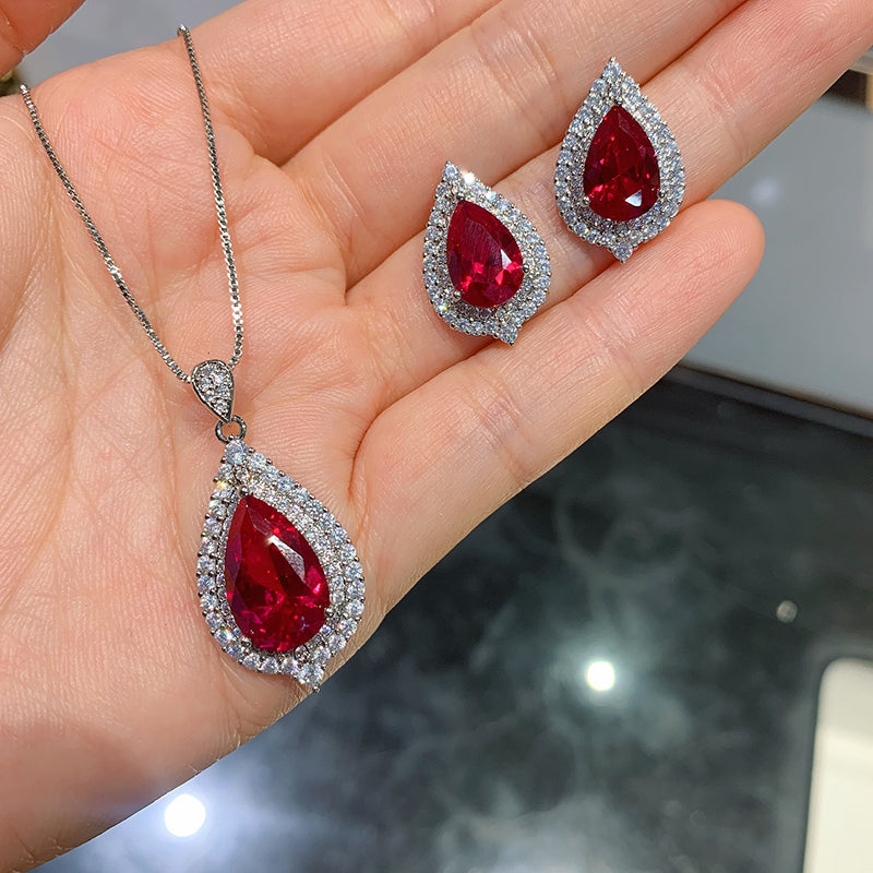 Pear Cut Lab Created Ruby Classic Pendant Necklace