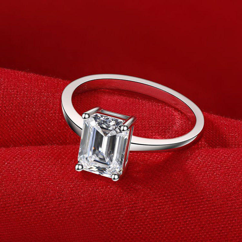 925 Sterling Silver Emerald Cut 6*8mm Created Diamond Simp Solitaire Ring