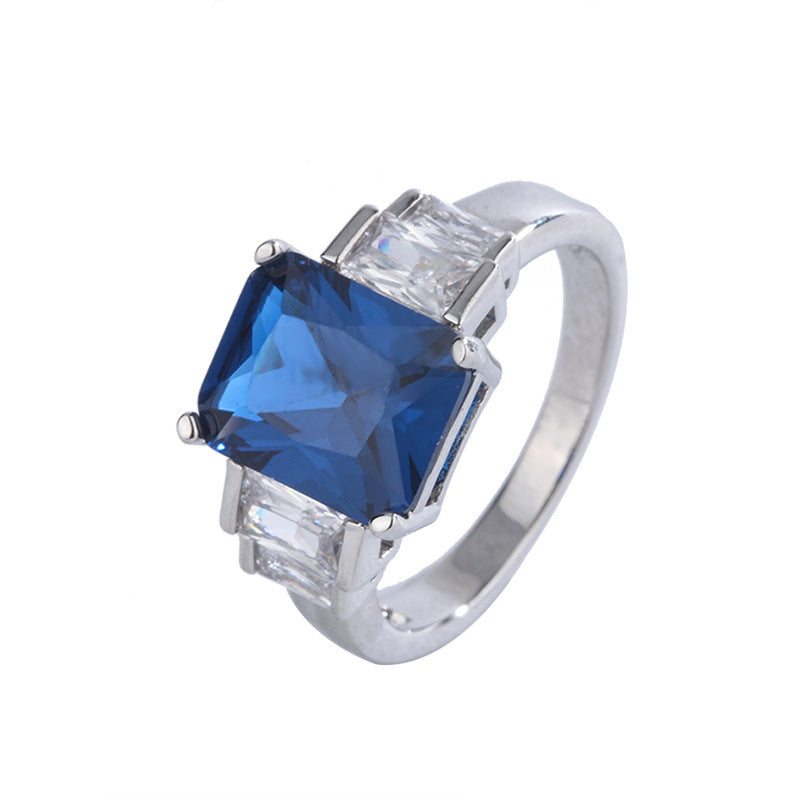 Radiant Cut 8*10MM Lab Created Sapphire Vintage Classic Ring