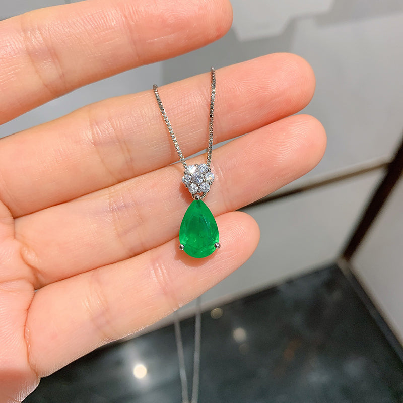 Fashion Pear Cut 8*12mm Lab Created Emerald Flower Pendant Necklace