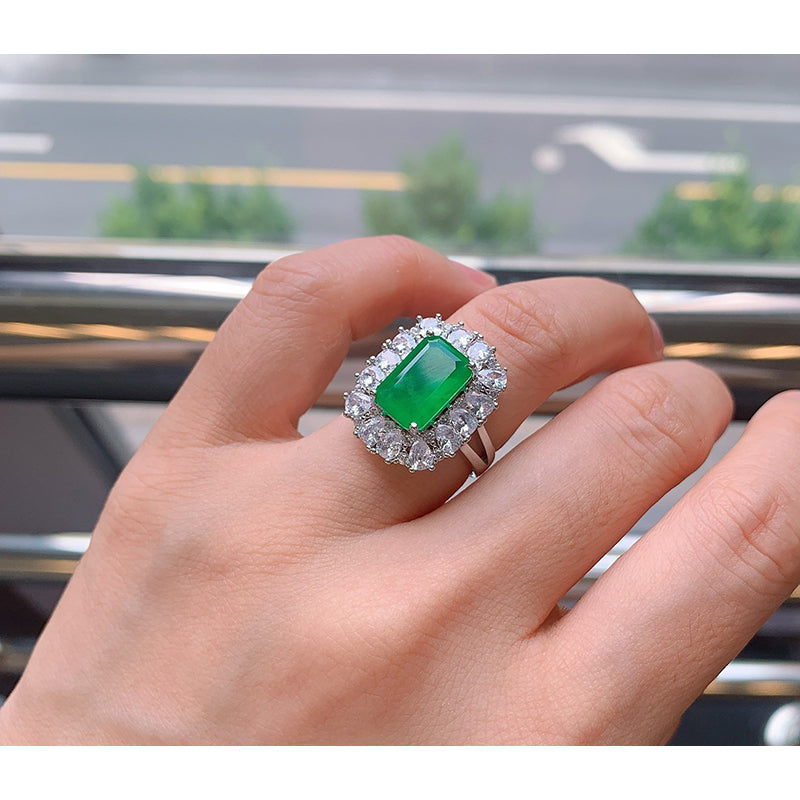 Vintage Emerald Cut Lab Created Emerald Ring
