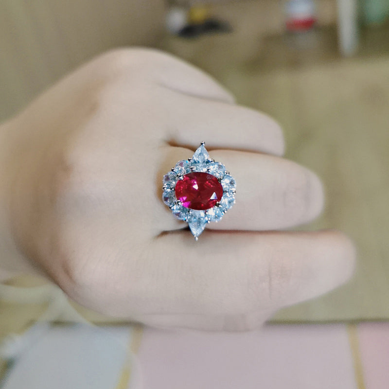 Oval Cut Lab Created Ruby Classic Halo Ring