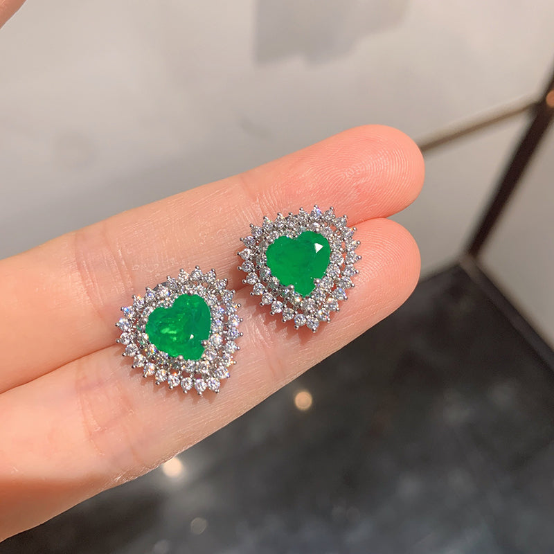 Heart-Shape Cut Lab Created Emerald/Lab Created Sapphire/Lab Created Pink Sapphire Fashion Stud Earrings